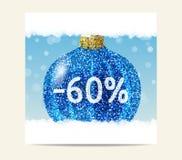 Blauer Funkelnweihnachtsball für Weihnachtsverkauf lizenzfreie abbildung