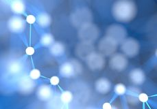 Blauer futuristischer abstrakter Netzknotenhintergrund Technologie Stockbild