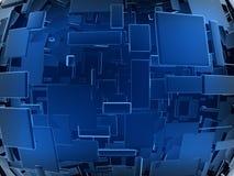 Blauer futuristischer Bau lizenzfreie stockfotografie