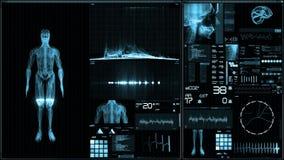 Blauer futuristischer Patientenmonitorschirm in der Perspektive/in der medizinischen Schirmschnittstelle lizenzfreie abbildung