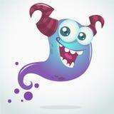 Blauer Geist der glücklichen Karikatur mit zwei Hörnern und großen Augen Vektor-Halloween-Charakter Lizenzfreies Stockfoto