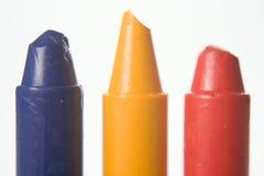 Blauer gelber roter Zeichenstift Stockbild