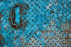 Blauer gemalter Metallhintergrund Stockfoto