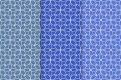 Blauer geometrischer Satz nahtlose Muster Lizenzfreies Stockbild
