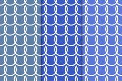 Blauer geometrischer Satz nahtlose Muster Stockfotos