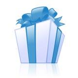 Blauer Geschenkkasten Stockbild