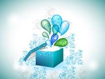 Blauer Geschenkkasten mit explodierenden Strudeln. vektor abbildung