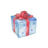 Blauer Geschenkkasten mit rotem Bogen Stockfoto