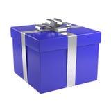 Blauer Geschenkkasten mit silbernem Farbband Stockbild
