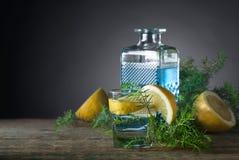 Blauer Gin, Stärkungsmittel und Zitrone auf einem alten Holztisch lizenzfreie stockfotos
