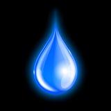 Blauer glänzender Wassertropfen Stockfoto