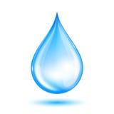 Blauer glänzender Wassertropfen Lizenzfreie Stockfotografie