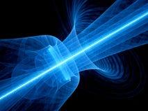 Blauer glühender Quantenlaser im Raum mit geplätschertem Strahl lizenzfreie abbildung
