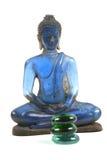 Blauer Glasbuddha lizenzfreie stockfotos