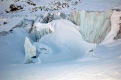 Blauer Gletscher nahe Mont Blanc Lizenzfreies Stockfoto