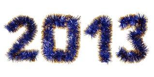 Blauer Goldfilterstreifen, der eine 2013-Jahr-Zahl bildet Stockfotos