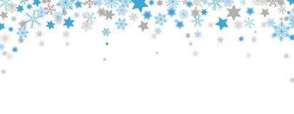 Blauer Gray Christmas Headline Snowflakes Stars Lizenzfreie Stockfotos