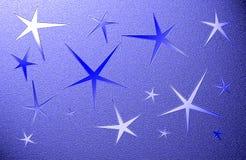 Blauer grungy Hintergrund mit fünf gezeigten Sternen Stockfotos