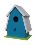 Blauer hölzerner Birdhouse Stockfotografie