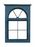 Blauer hölzerner Fensterrahmen lokalisiert Stockbilder