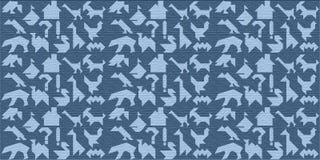 Blauer hölzerner Hintergrund mit Schattenbildern für Puzzlespiel Tangrams Stockfotos