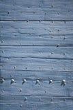 Blauer hölzerner Türhintergrund Stockfotografie