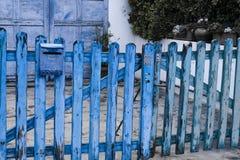Blauer hölzerner Zaun Lizenzfreies Stockfoto