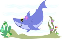 Blauer Haifisch, der Spaß hat Stockfotos