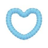 Blauer Herzrahmen des Lutschers Stockfoto