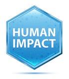 Blauer Hexagonkristallknopf der menschlichen Auswirkung vektor abbildung