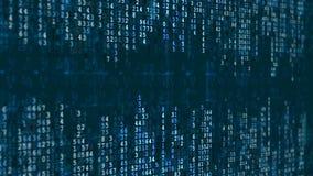 Blauer Hightech- Hintergrund Abstrakter digitaler binärer Matrixeffekt stock footage