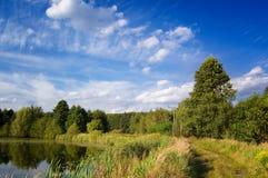 Blauer Himmel über dem See und den Bäumen Lizenzfreies Stockfoto
