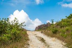 Blauer Himmel des alten Bergwerkgebirgsschotterwegs Lizenzfreie Stockfotografie