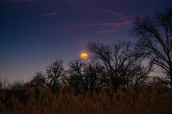 Blauer Himmel des Sonnenuntergangs Stockfoto