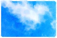 Blauer Himmel des Watercolour mit Wolken Stockfotos
