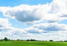 Blauer Himmel, grünes Feld Stockfotos