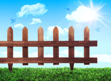 Blauer Himmel, grünes Gras, die Strahlen der Sonne Stockfotografie