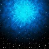 Blauer Himmel-Hintergrund bedeutet Sterne Celestial And Glowing Lizenzfreie Stockfotos