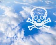 Blauer Himmel mit einem Schädel und den Knochen in den Wolken Stockfotos