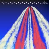 Blauer Himmel mit Spur des Flugzeuges Stockbilder