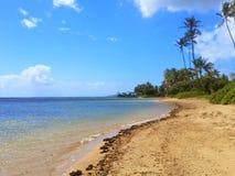 Blauer Himmel mit Wolken mit Palmen auf Strand in Hawaii-Fotografie Lizenzfreie Stockbilder