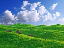 Blauer Himmel und Gras stockfotografie