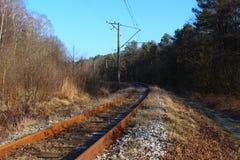 Blauer Himmel und lange Eisenbahn Stockbilder