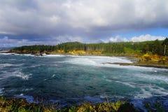 Blauer Himmel und mildern Wellen lizenzfreies stockbild