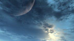 Blauer Himmel und Mond lizenzfreie abbildung