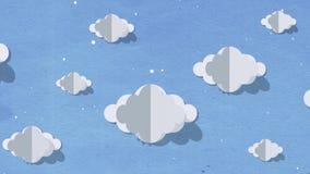 Blauer Himmel voll von den Wolken, die sich von rechts nach links bewegen Karikaturpapierschnitt-Kunstentwurf belebte Hintergrund stock abbildung