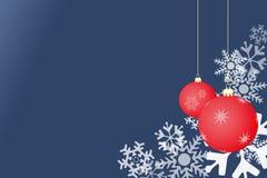 Blauer Hintergrund der Schneeflocke mit Kugeln Lizenzfreie Stockfotos