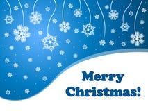 Blauer Hintergrund der Schneeflocken frohe Weihnachten Lizenzfreie Stockfotografie