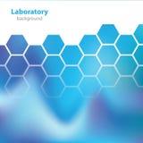 Blauer Hintergrund der Wissenschaft und des Forschungslabors - stockbild