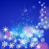 Blauer Hintergrund des abstrakten Winters mit den Schneeflocken Stockfotografie